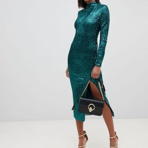 ASOS Club L London Green Sequin High Neck Dress